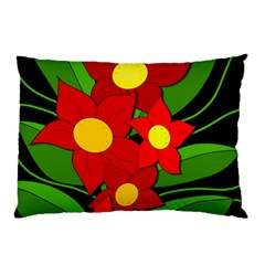 Red Flowers Pillow Case by Valentinaart