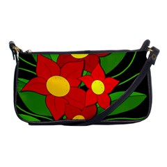 Red Flowers Shoulder Clutch Bags by Valentinaart