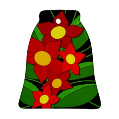 Red Flowers Bell Ornament (2 Sides) by Valentinaart