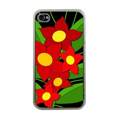 Red Flowers Apple Iphone 4 Case (clear) by Valentinaart