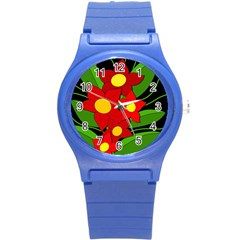 Red Flowers Round Plastic Sport Watch (s) by Valentinaart