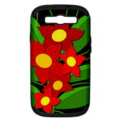 Red Flowers Samsung Galaxy S Iii Hardshell Case (pc+silicone) by Valentinaart