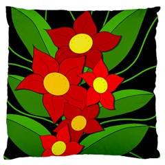 Red Flowers Standard Flano Cushion Case (one Side) by Valentinaart