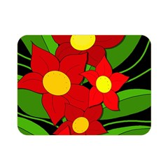 Red Flowers Double Sided Flano Blanket (mini)  by Valentinaart