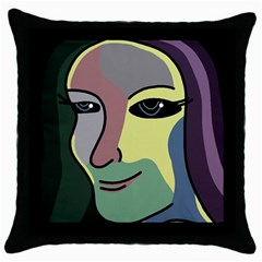 Lady Throw Pillow Case (black) by Valentinaart