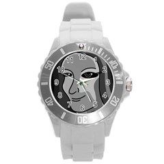Lady   Gray Round Plastic Sport Watch (l) by Valentinaart