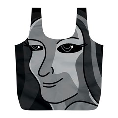 Lady   Gray Full Print Recycle Bags (l)  by Valentinaart