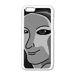 Lady   Gray Apple Iphone 6/6s White Enamel Case