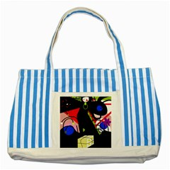 Gift Striped Blue Tote Bag by Valentinaart