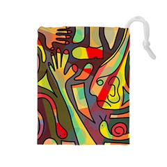 Colorful Dream Drawstring Pouches (large)  by Valentinaart