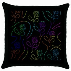 Flowers   Pattern Throw Pillow Case (black) by Valentinaart