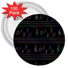 Music Pattern 3  Buttons (100 Pack)  by Valentinaart