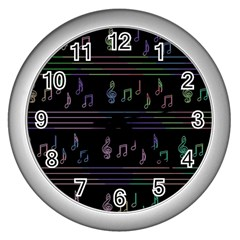 Music Pattern Wall Clocks (silver)  by Valentinaart