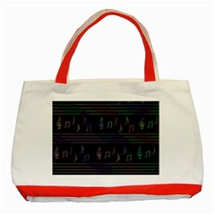 Music Pattern Classic Tote Bag (red) by Valentinaart