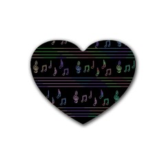 Music Pattern Rubber Coaster (heart)  by Valentinaart