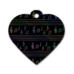 Music Pattern Dog Tag Heart (two Sides) by Valentinaart