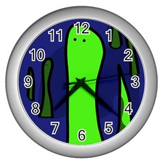Green Snakes Wall Clocks (silver)  by Valentinaart