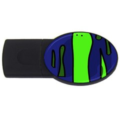 Green Snakes Usb Flash Drive Oval (2 Gb)  by Valentinaart
