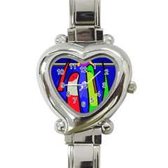Colorful Snakes Heart Italian Charm Watch by Valentinaart