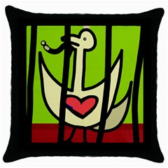 Duck Throw Pillow Case (black) by Valentinaart