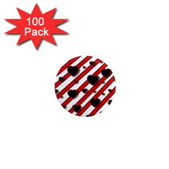 Black And Red Harts 1  Mini Magnets (100 Pack)  by Valentinaart