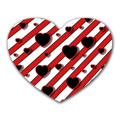 Black And Red Harts Heart Mousepads by Valentinaart