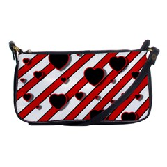 Black And Red Harts Shoulder Clutch Bags by Valentinaart