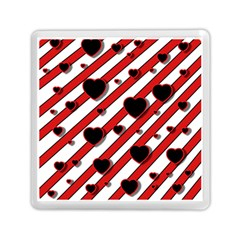Black And Red Harts Memory Card Reader (square)  by Valentinaart