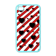 Black And Red Harts Apple Iphone 4 Case (color) by Valentinaart