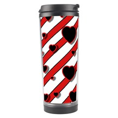 Black And Red Harts Travel Tumbler