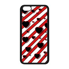 Black And Red Harts Apple Iphone 5c Seamless Case (black) by Valentinaart