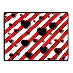Black And Red Harts Double Sided Fleece Blanket (small)