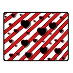 Black and red harts Double Sided Fleece Blanket (Small)  45 x34  Blanket Back
