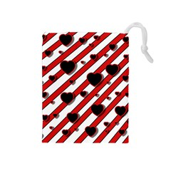 Black And Red Harts Drawstring Pouches (medium)  by Valentinaart