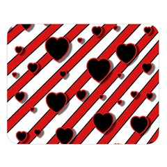 Black And Red Harts Double Sided Flano Blanket (large)  by Valentinaart