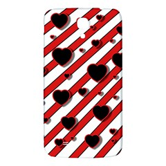 Black And Red Harts Samsung Galaxy Mega I9200 Hardshell Back Case by Valentinaart