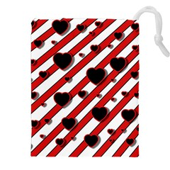 Black And Red Harts Drawstring Pouches (xxl) by Valentinaart