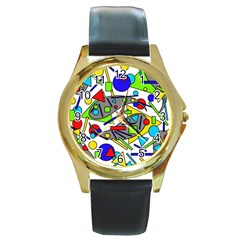 Find It Round Gold Metal Watch by Valentinaart