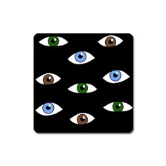 Look At Me Square Magnet by Valentinaart