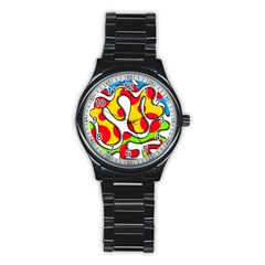 Colorful Graffiti Stainless Steel Round Watch by Valentinaart