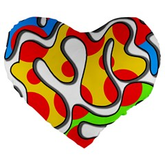 Colorful Graffiti Large 19  Premium Flano Heart Shape Cushions by Valentinaart