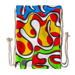 Colorful Graffiti Drawstring Bag (large) by Valentinaart