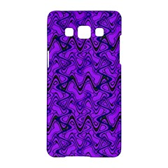 Purple Wavey Squiggles Samsung Galaxy A5 Hardshell Case  by BrightVibesDesign