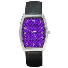 Purple Wavey Squiggles Barrel Style Metal Watch by BrightVibesDesign
