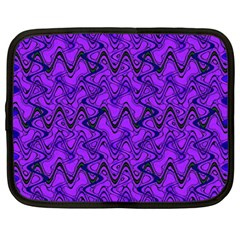 Purple Wavey Squiggles Netbook Case (large) by BrightVibesDesign