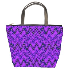 Purple Wavey Squiggles Bucket Bags by BrightVibesDesign