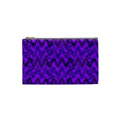 Purple Wavey Squiggles Cosmetic Bag (small)  by BrightVibesDesign