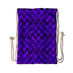 Purple Wavey Squiggles Drawstring Bag (small) by BrightVibesDesign