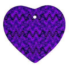 Purple Wavey Squiggles Heart Ornament (2 Sides) by BrightVibesDesign