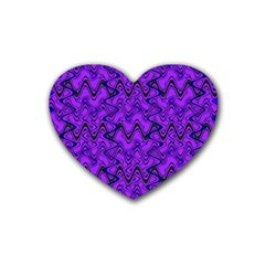 Purple Wavey Squiggles Heart Coaster (4 Pack)  by BrightVibesDesign